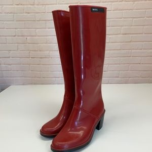 MARC JACOBS Tall Red Heeled Rain Boots 37 6.5